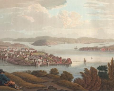 Arendal. Kolorert kobberstikk etter tegning av J.W. Edy 1800. Fra Boydell´s picturesque Scenery of Norway, vol. I, London 1820.