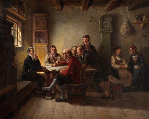 A. Tiedemand: Politiserende bønder (1848)