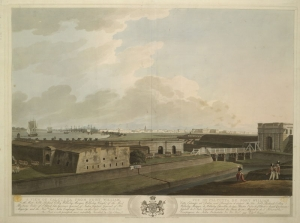Calcutta sett fra Fort William i 1807. Utgitt av Edward Orne.