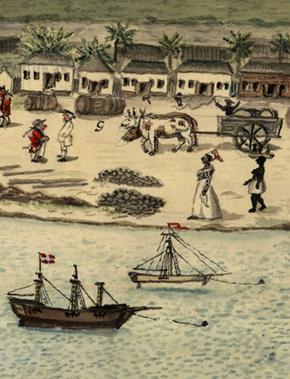 Havna i Christiansted på St. Croix i 1815. Foto: Rigsarkivet i Danmark.