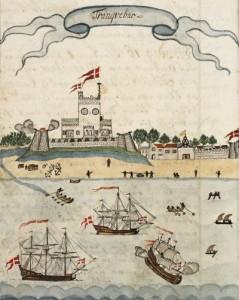 Prospekt over den Danske kolonien Tranquebar i første halvdel av 1700-tallet.