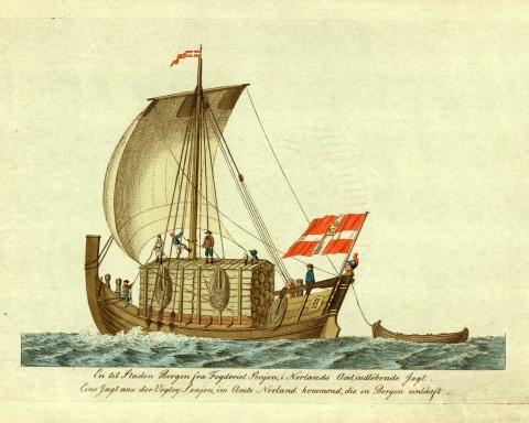 """""""En til staden Bergen fra Fogderiet Senjen indløbende Jagt"""" Bilde: J. H. Senn etter J. F. L. Dreier, omlag 1800. Bilde, Norsk Folkemuseum."""