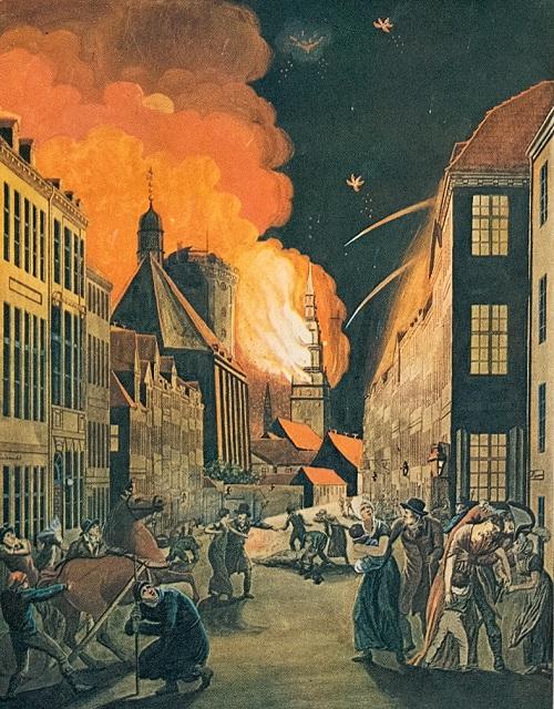 Københavns bombardement i 1807. Bilde: C. W. Eckersberg.