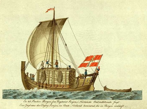"""En til staden Bergen fra Fogderiet Senjen indløbende Jagt"" Bilde: J. H. Senn etter J. F. L. Dreier. Omlag 1800."
