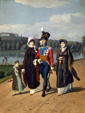 Frederik 6. med familie på spasertur i Frederiksberg Have ca. 1813. Kilde: Stortinget 1905.