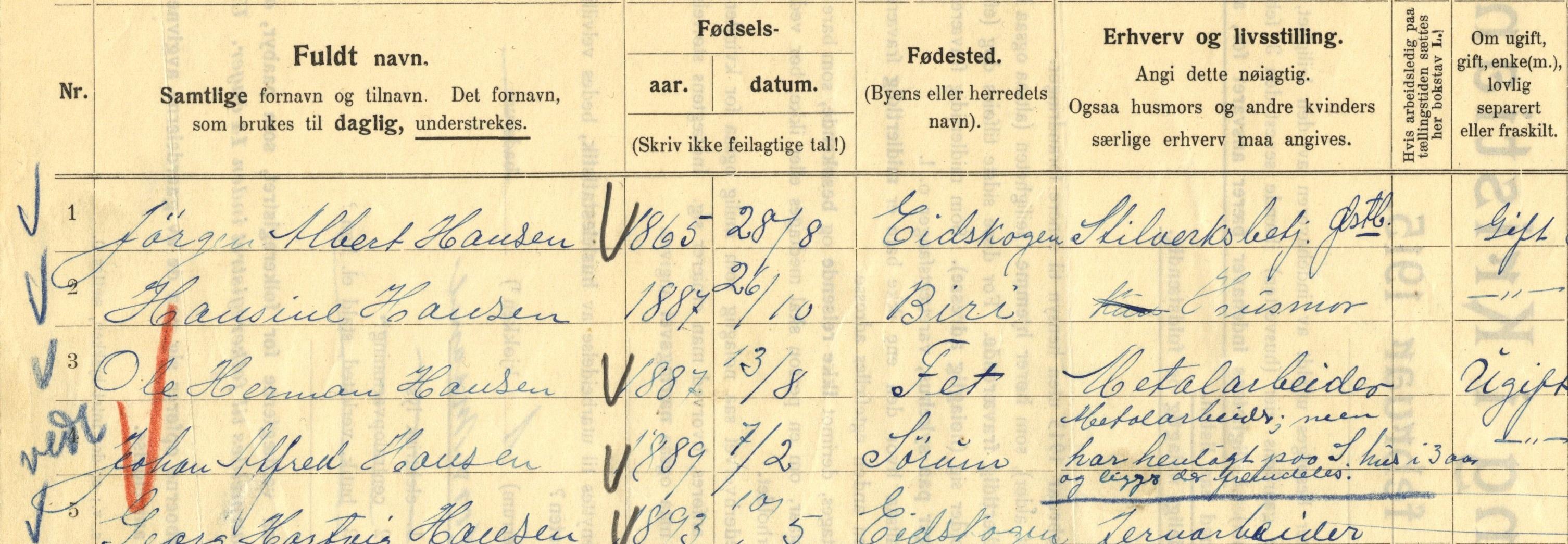 Johan Alfred Hansen i folketellinga fra 1915.