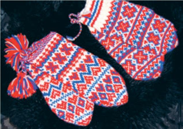 Fáhcat. Strikkevotter fra Guovdageaidnu. Foto: Samisk arkiv / Sámi Arkiiva