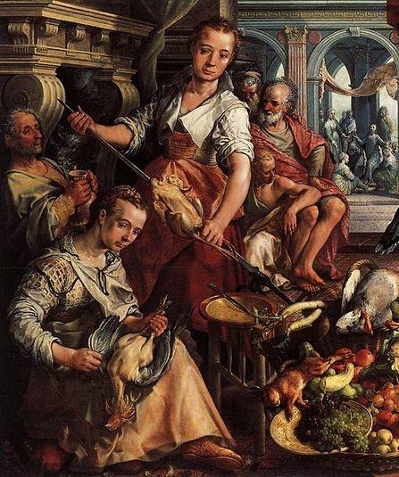 Kjøkkenscene med Jesus hos Martha og Maria i bakgrunnen, 1566. Joachim Beuckelaer.