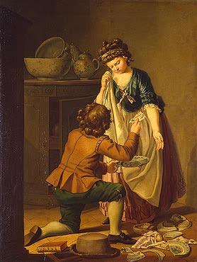 Fajanse ble også importert fra utlandet. Pehr Hilleström, 1781.