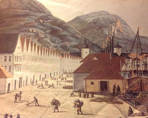 Bryggen i Bergen i 1817. J. F. L. Dreier.
