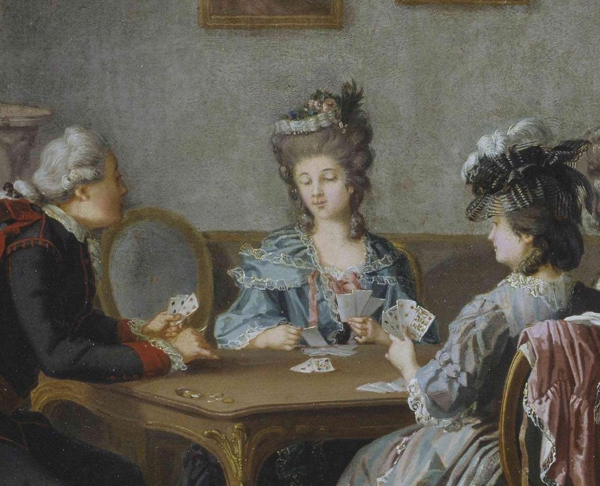 Spillkort ble importert via flere havner. Bildet viser korspill i Gustav 3.s hoff. Pehr Hilleström.