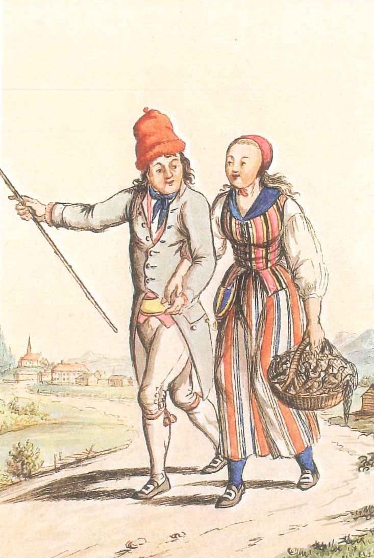 """J. F. L. Dreiers akvarell """"Melhuusbyg med sin pige"""" er en av bare to avbildninger av løslommer båret utenpå tøyet."""
