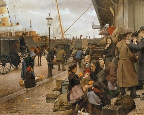 """Eilif Pedersens """"Udvandrere på Larsens Plads"""" fra 1890. Iscenesetter emmigrasjon fra Danmark."""