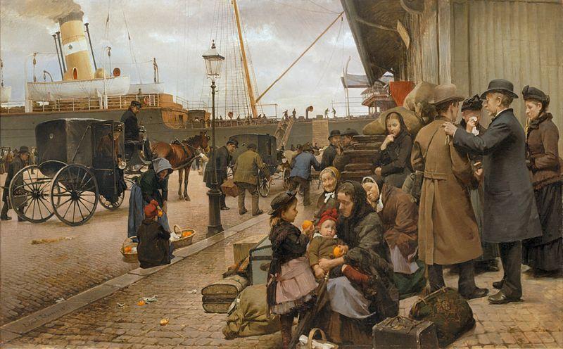"""Eilif Pedersens """"Udvandrere på Larsens Plads"""" fra 1890 iscenesetter emmigrasjon fra Danmark."""
