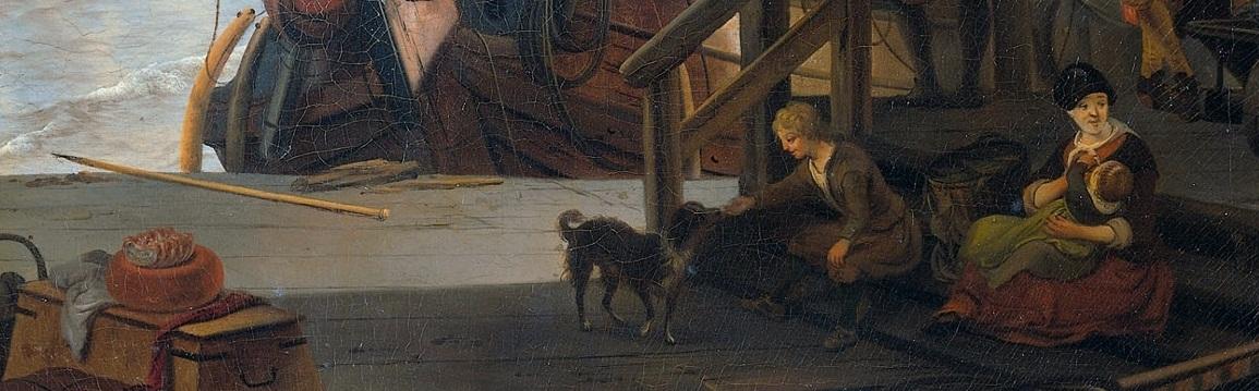 Mosselsteiger, Amsterdam. Ludolf Backhuysen 1673. (utsnitt)