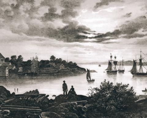 Larvik havn. Fra Christian Tønsberg: Norge fremstillet i Tegninger, Christiania 1848.