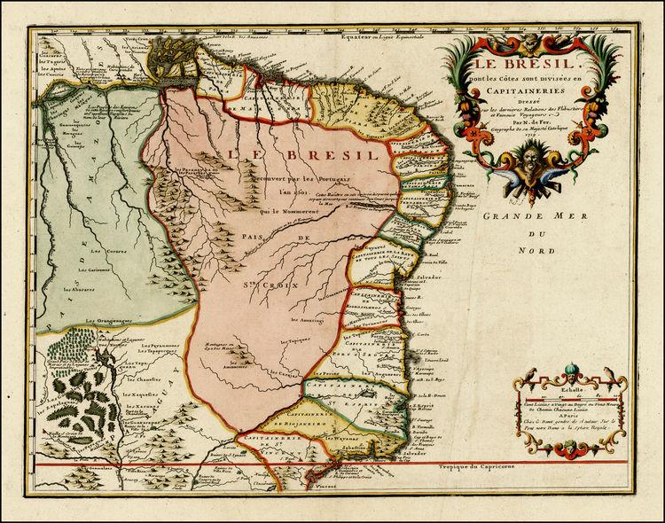 Kart over Brasil fra 1719. Teikna av Nicolas De Fer.