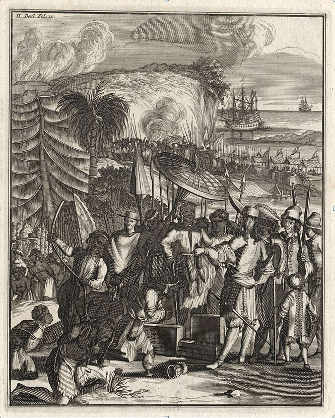 Nederlandske handelsmenn på slavemarkedet i Pipely/Baliapal (i Orissa), i 1663. Bildet er hentet fra 'Wouter Schouten's travels into the East Indies', 2nd ed., Amsterdam, 1708. Google Books.