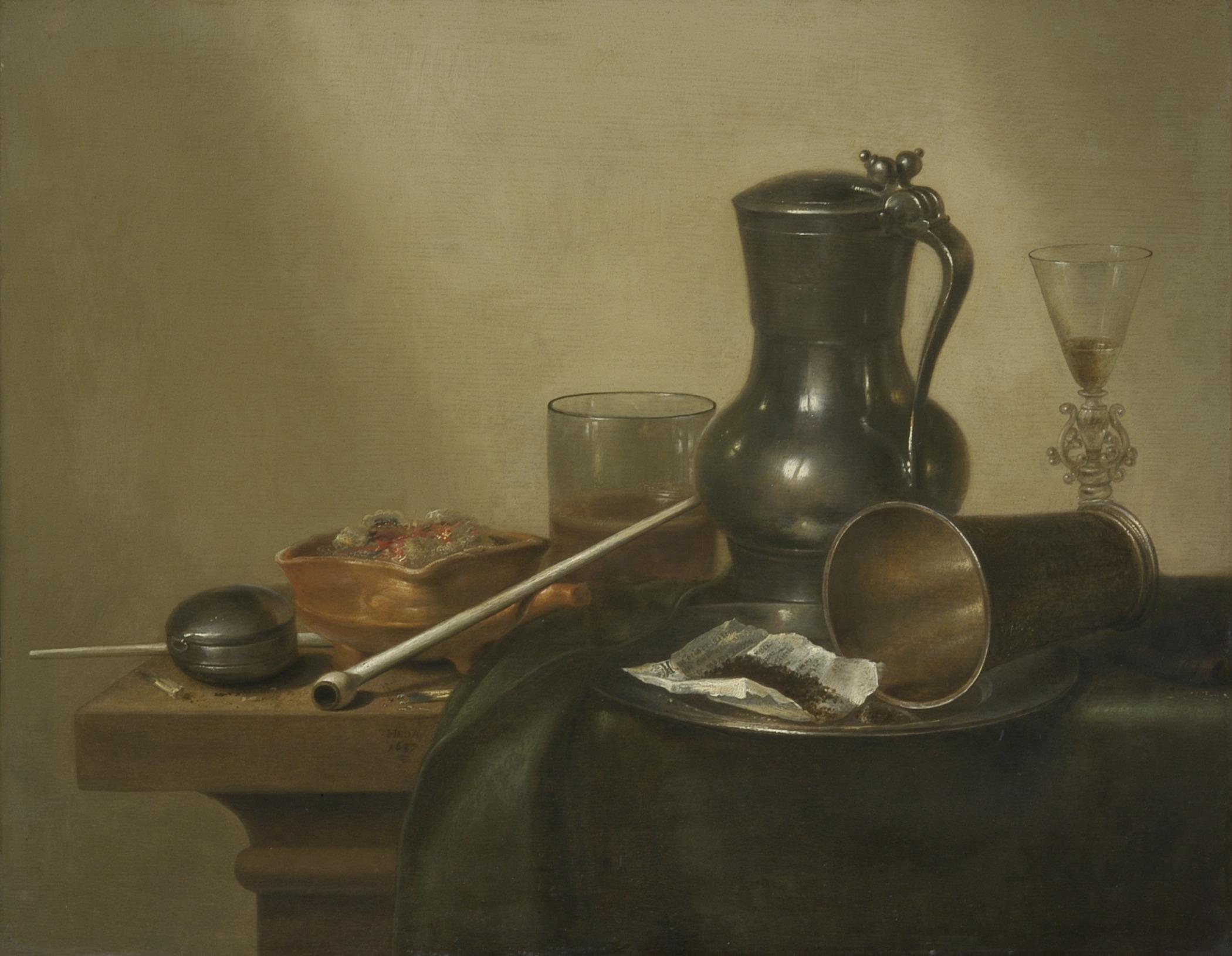 Stilleven med tobakk. Måla av Willem Claesz. Heda (1637)