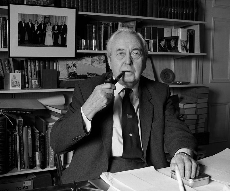 Harold Wilson i 1986. Foto Allan Warren wikimedia commons.