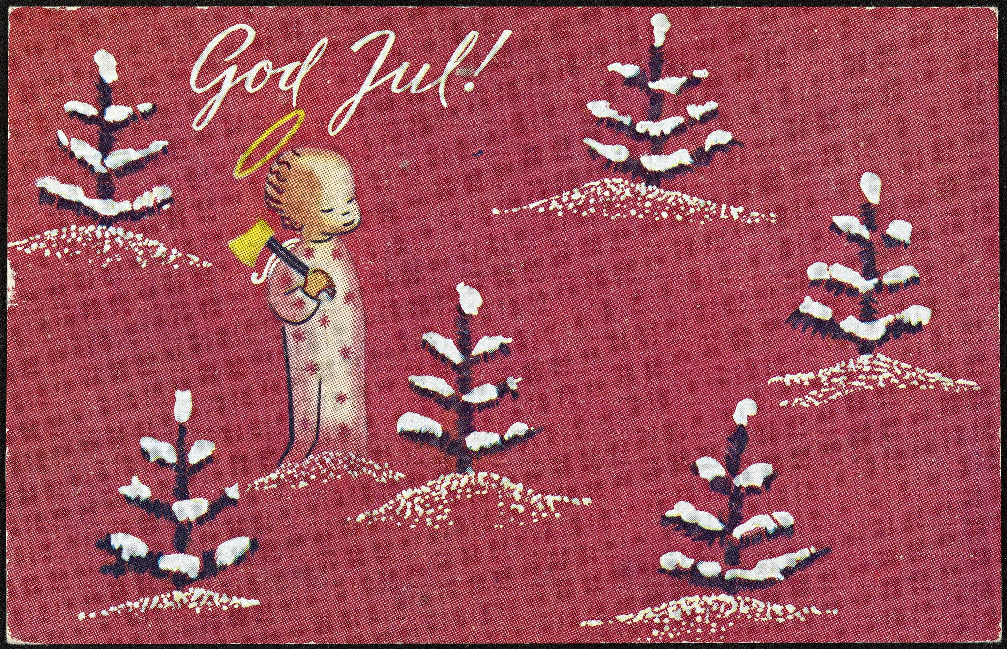 Julekort fra 1948. Digitalisert av Nasjonalbiblioteket på Flickr.