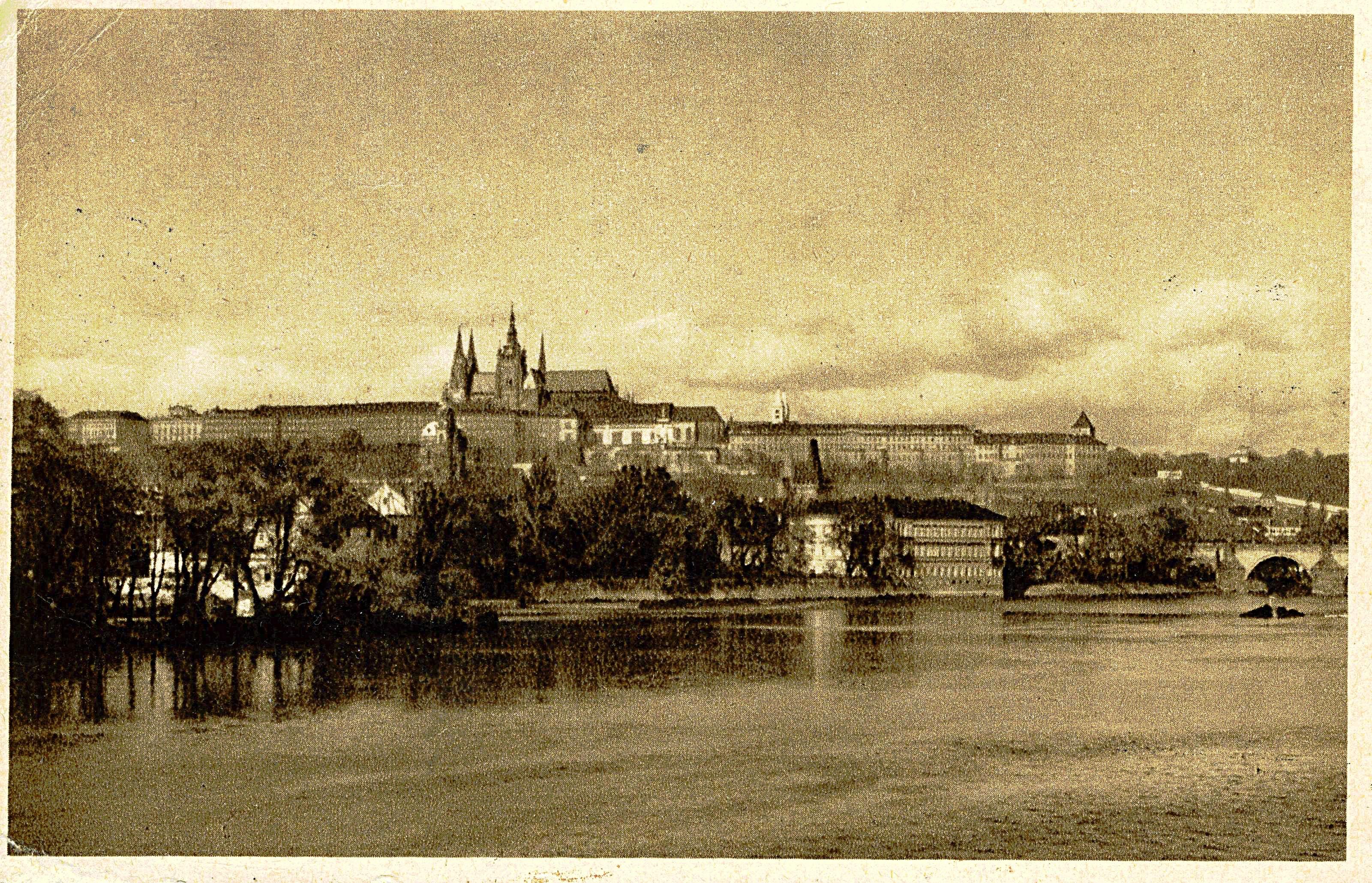 Postkort: Nansenhjelpen opprettet et feltkontor i Praha allerede desember 1938. Foto er et postkort fra arkiv etter søskenparet Thomas og Ilse Mautner, HL-senteret