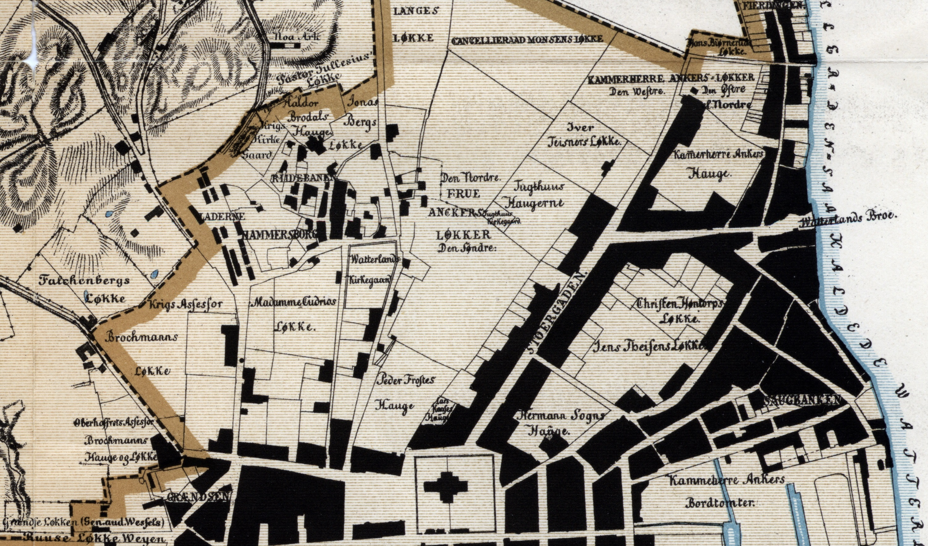 Utsnitt kart Patroclus Hirsch (Christiania By og dens Marker, 1794 og 1795. Oslo byarkiv).