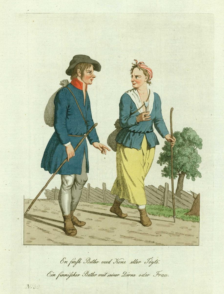 """""""En finsk Betler med Kone eller Tøyte"""", ca. 1812. Originaltegninger: Johann F. L. Dreier, kobberstikk: J. Senn, håndkolorering: Grete Lalim (Norske nationale Klædedragter / Johannes Senn. Børsum, 1969)."""
