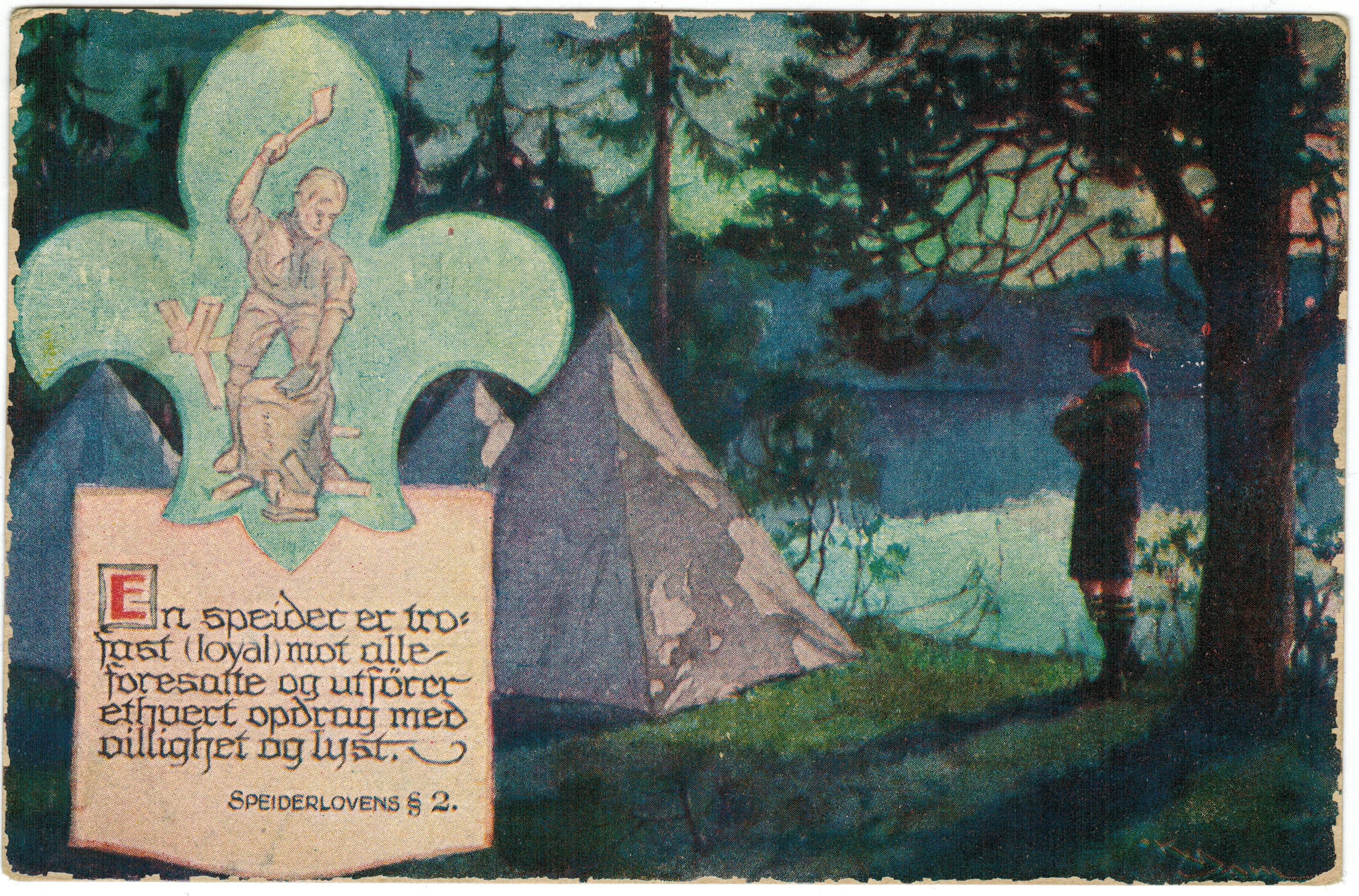 Fra en postkortserie som omhandler speiderloven. Tegnet av Karl Dahl.