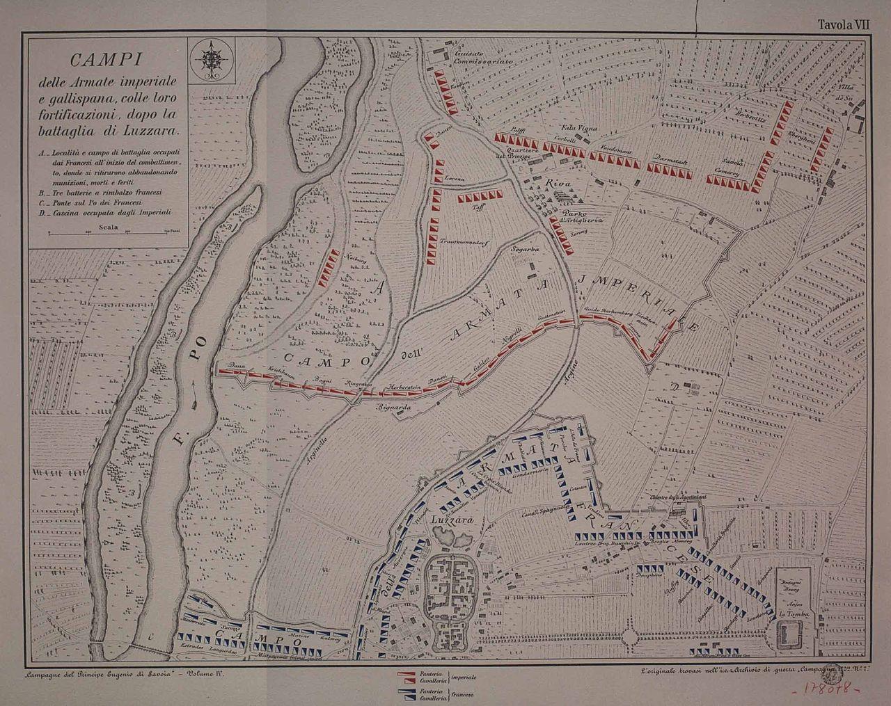Slagplan fra slaget ved Luzzara.