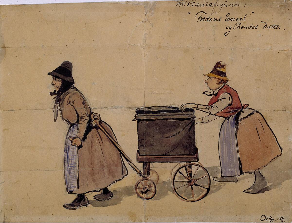 """""""Fredens Engel"""" tegna av Olaf Krohn i 1891. Bilde: Oslo Museum."""