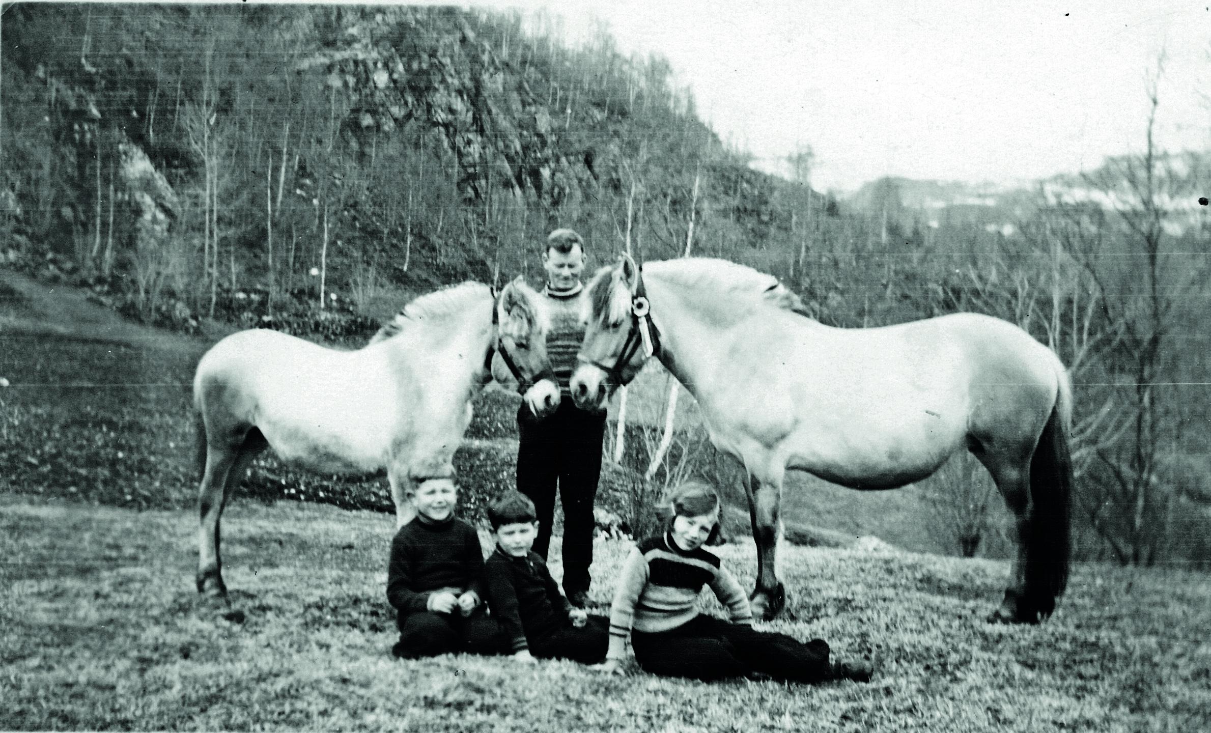Ludvik Lunden med borna Kåre, Steinar og Dagunn i 1938. Fjordingane er Rosa med følet Rigny. Fotograf ukjent.