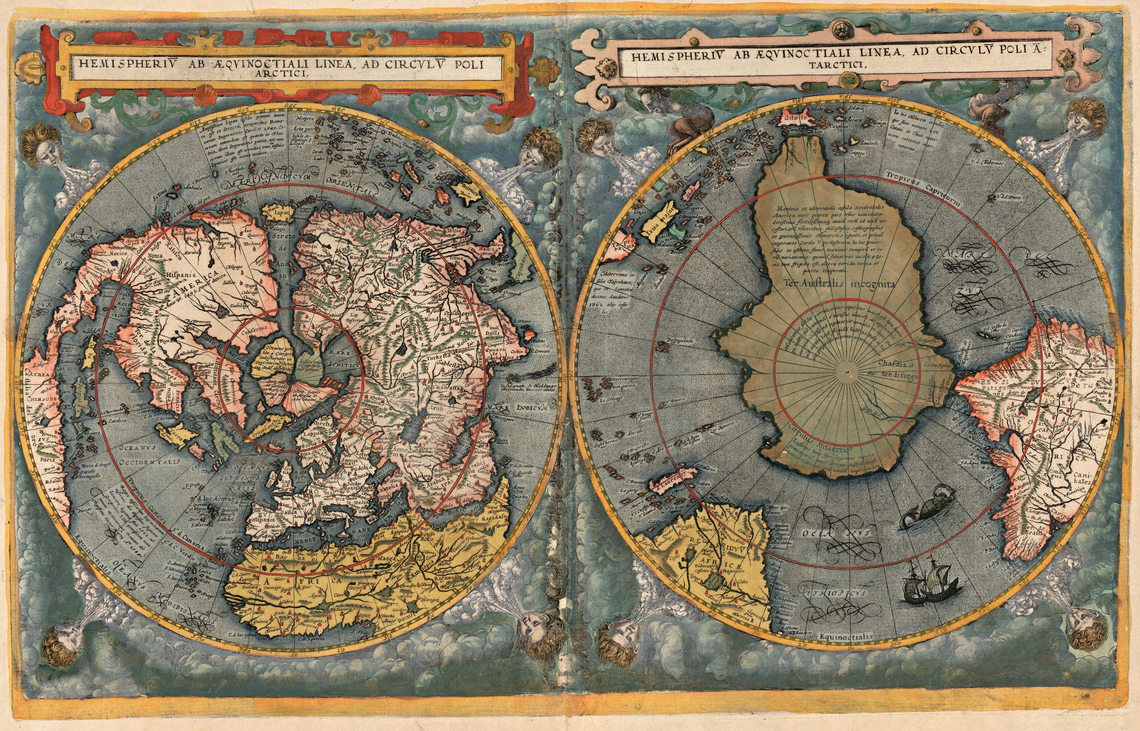 Cornelis de Jode: Hemisperium ab aequinoctiali linea, ad circulum poli antarctici, 1593. De Jodes verdenskart viser jorden i dobbelthemisfære i polarprojeksjon, dvs at den nordlige halvkule vises med Nordpolen i midten (til venstre) og den sørlige halvkule vises med Sydpolen i midten (til høyre). Bilde: Nasjonalbiblioteket
