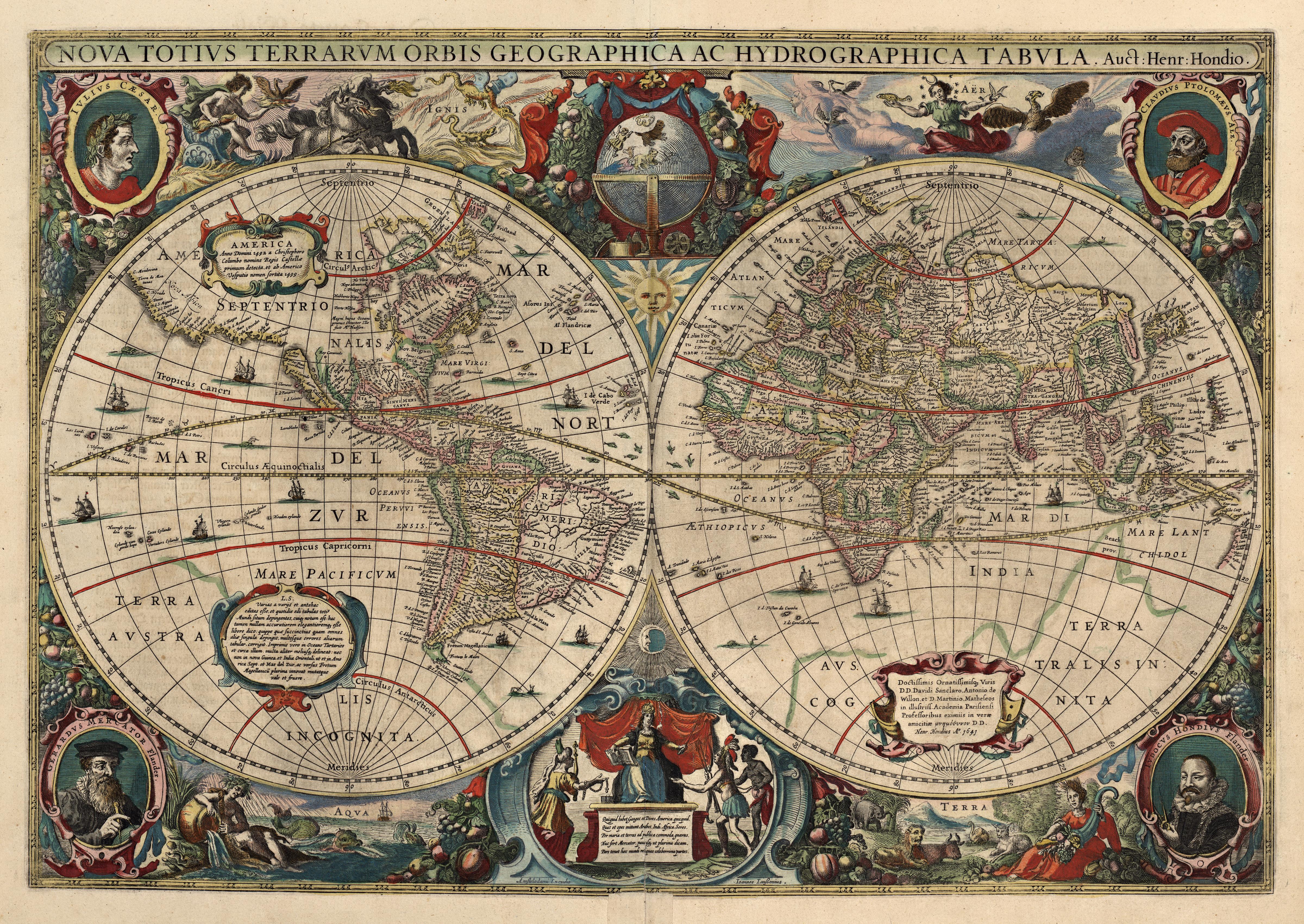Jodocus Hondius: Nova Totius Terrarum orbis Geographica ac Hydrographica Tabula, 1641, i Jan Janssonius Novus atlas, Amsterdam, 1647-50. Den buede linjen er ekliptikken, og langs den er symbolene for stjernetegnene i zodiaken tegnet inn: Der ekliptikken krysser ekvator helt til venstre på den vestlige halvkule er vårjevndøgn markert med symbolet for værens tegn, og der ekliptikken krysser ekvator ved overgangen mellom vestlig og østlig halvkule er høstjevndøgn markert med symbolet for vektens tegn. Vendekretsene er de røde linjene nord og sør for ekvator. Disse tar utgangspunkt i sommersolverv markert med symbolet for krepsens tegn og i vintersolverv markert med symbolet for steinbukkens tegn. Bilde: Nasjonalbiblioteket