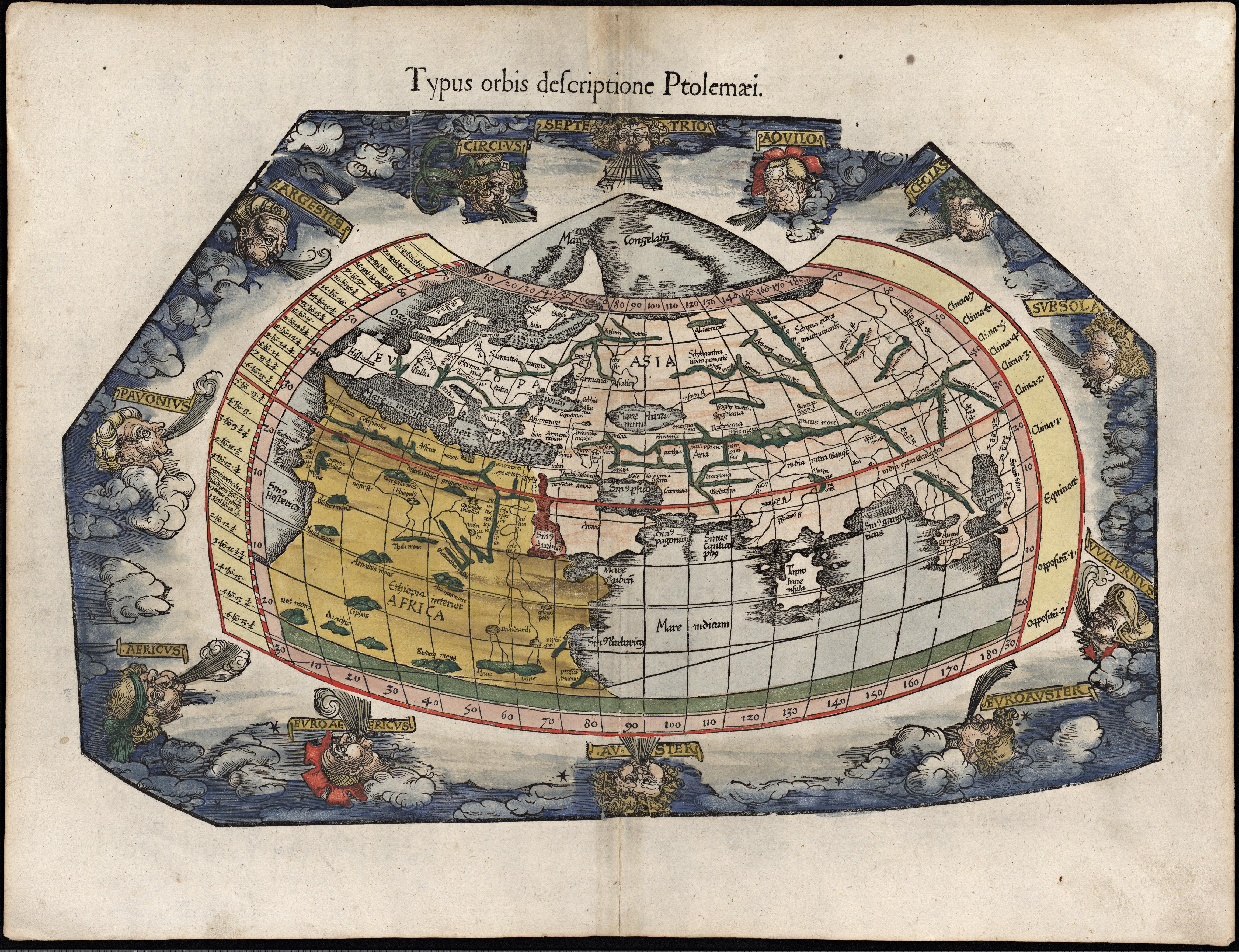 Laurent Fries: Typus Orbis Descriptione Ptolemaei, Wien 1541 Ptolemeisk verdenskart i konisk projeksjon. Bilde: Nasjonalbiblioteket