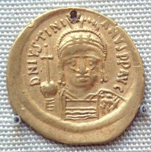 Justinians mynt. Bilde: Wikimedia Commons