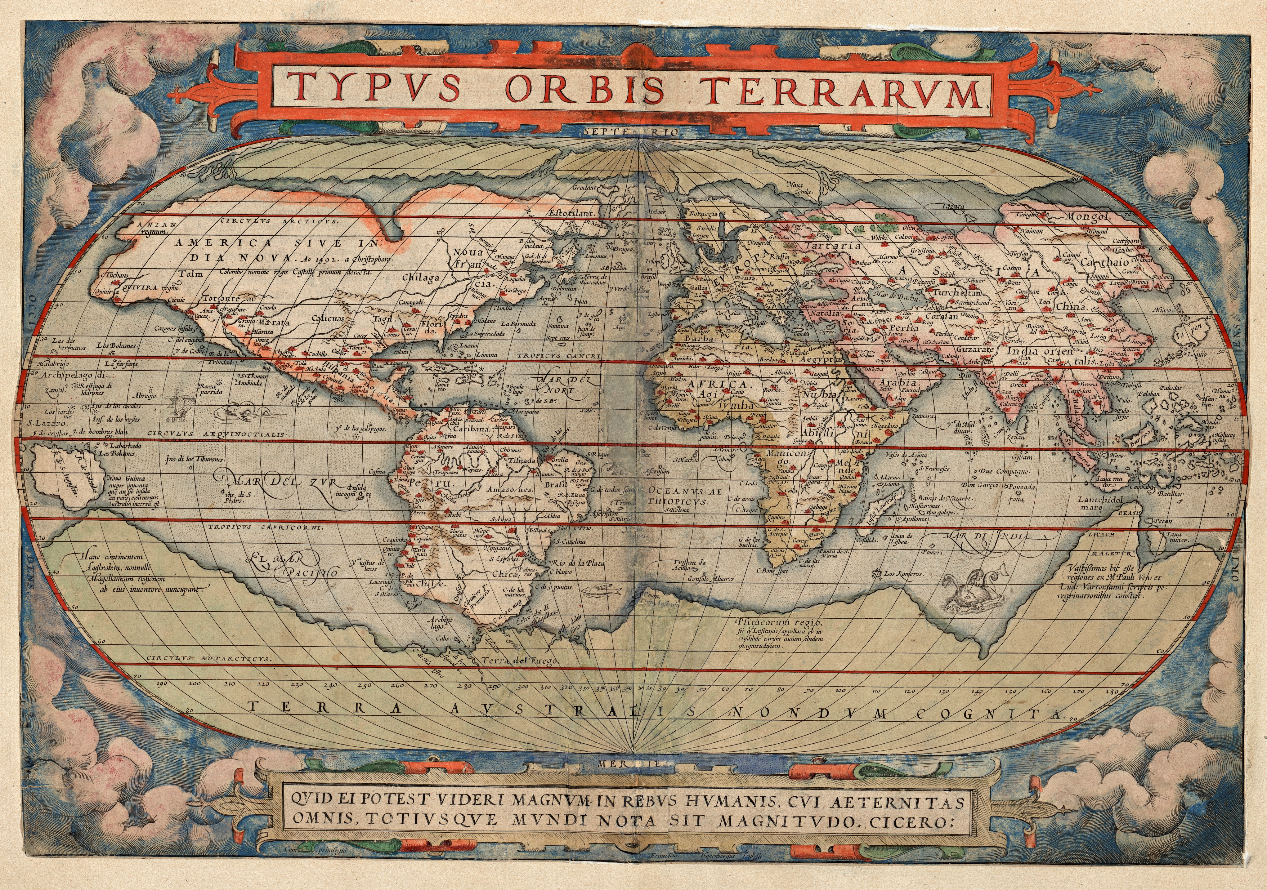 Abraham Ortelius: Typus Orbis Terrarum, 1579 Bilde: Nasjonalbiblioteket