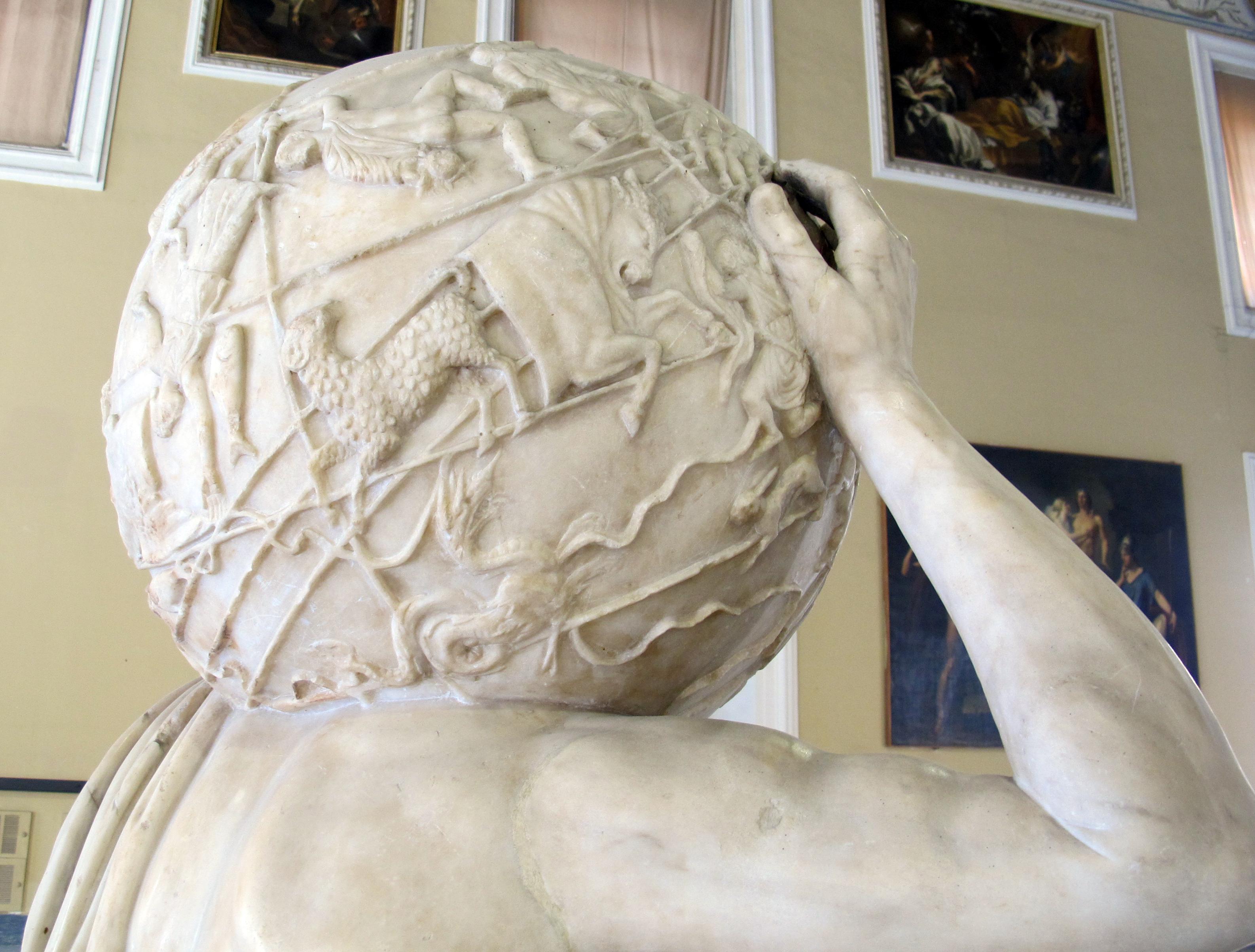 Farnese atlas. Romersk marmorskulptur fra 200-tallet. Bilde: Wikimedia Commons