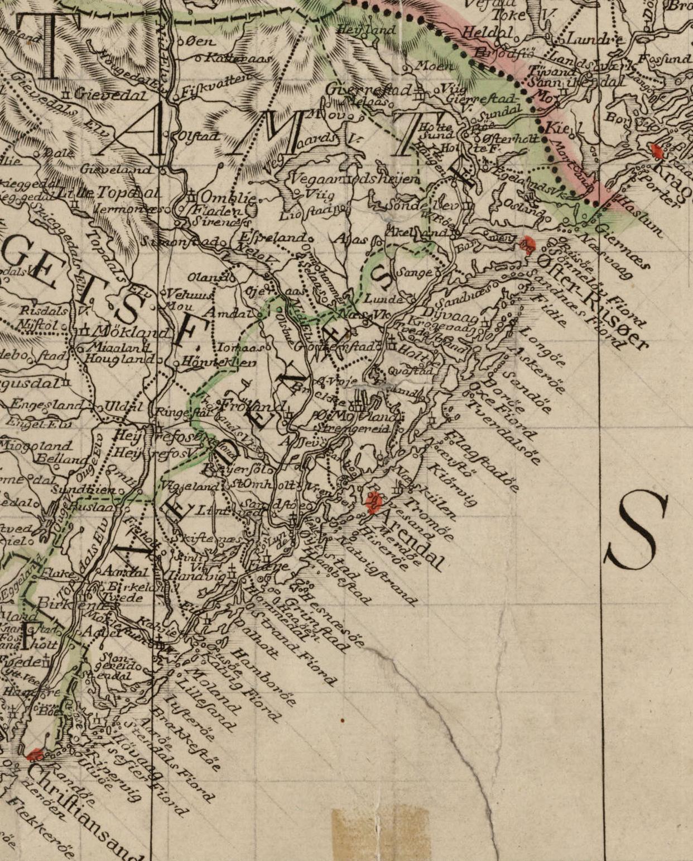 Bilde 2: Kart over Nedenes, 1785. Kartverket