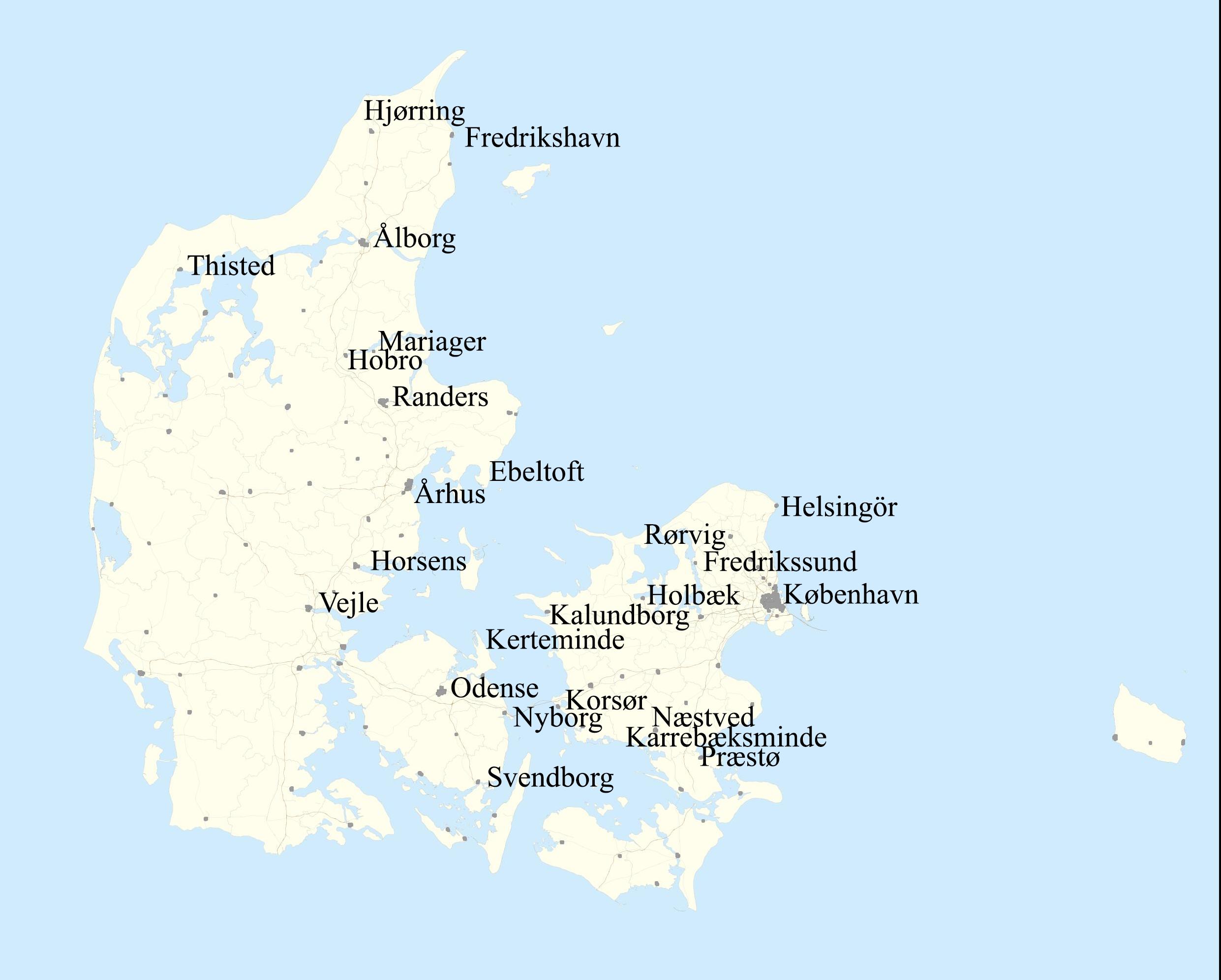 Bilde 4: Kart over de danske havnene nedenesskipperne har vært innom i løpet av årene 1782-1786. Kart: Nora Rodin/ Geodatastyrelsen