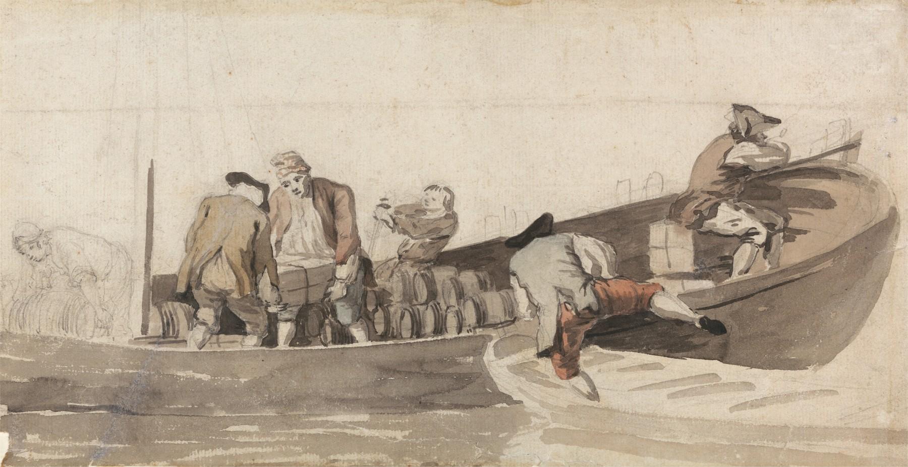 En båt blir lasta med tønner. Samuel Scott, ca. 1702-1772 . Foto: The Yale Center for British Art