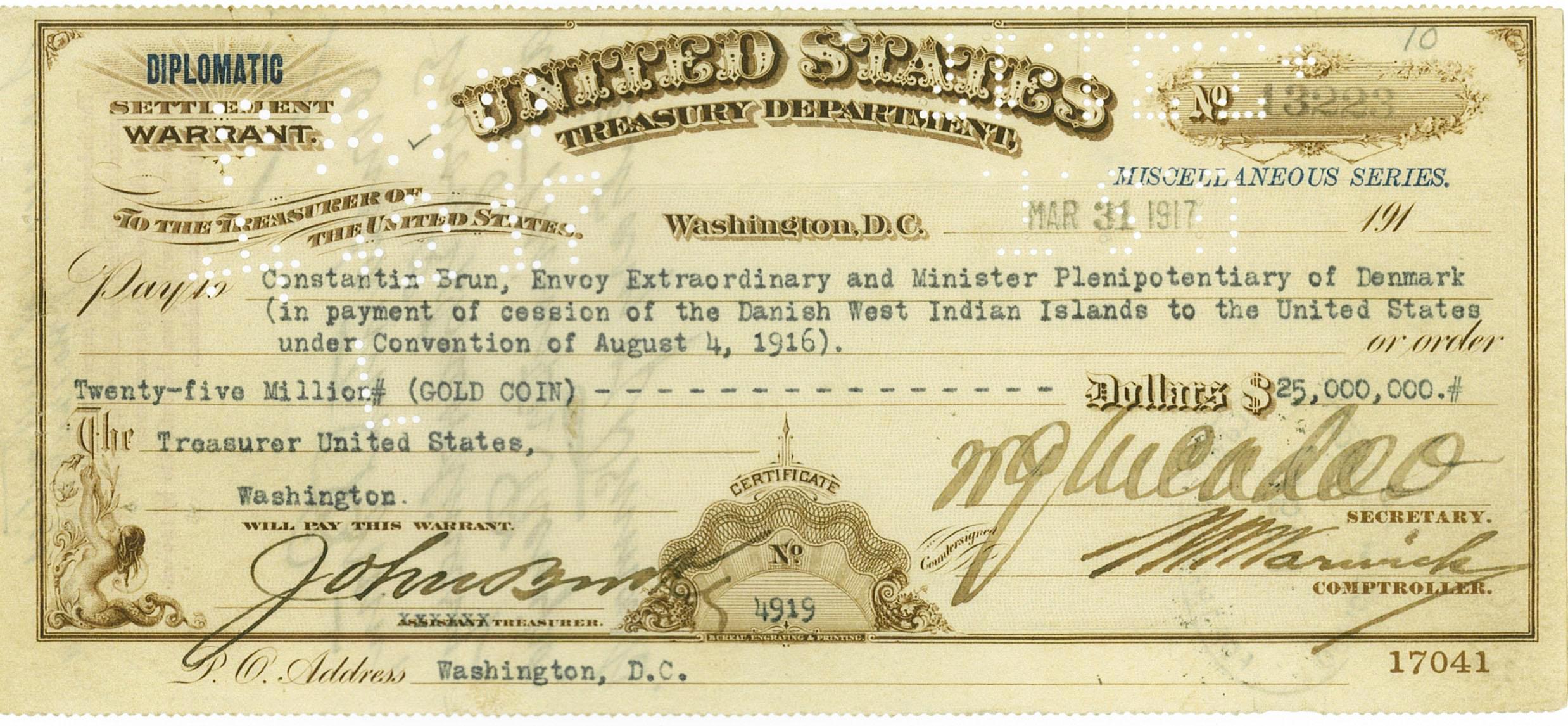 Sjekken fra overdragelsen av De vestindiske øyer. Foto: The National Archives, Washington DC. Fra Statens Arkiver