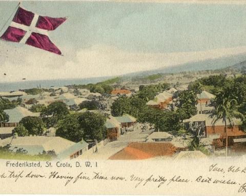Postkort over Fredrikssted på St. Croix, postlagt i 1909. Bilde: Peder Wiben.