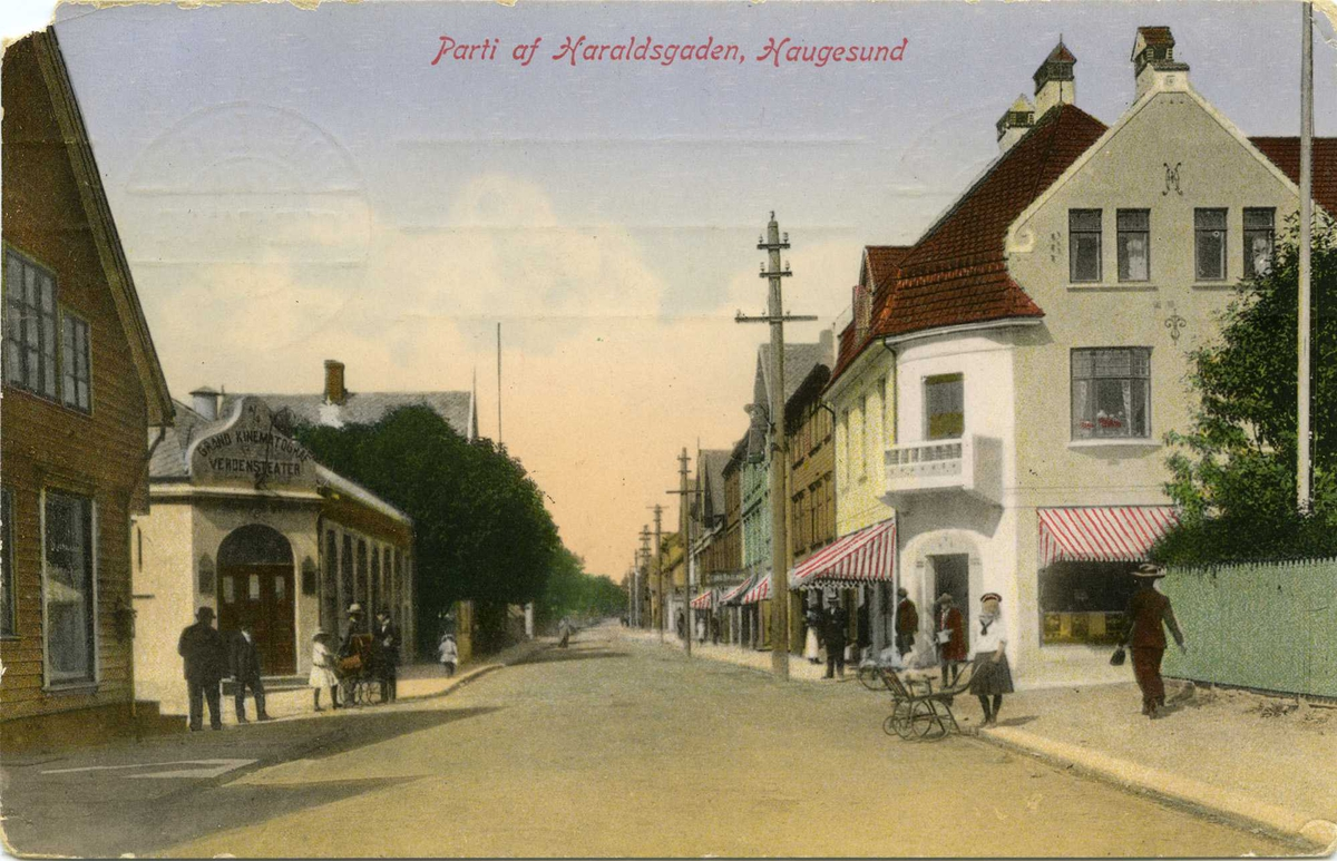 Kinoen preget bybildet. Her fra et postkort fra Haugesund i 1910. Foto: Ukjent. Postkortet eies at haugalandsmuseene.