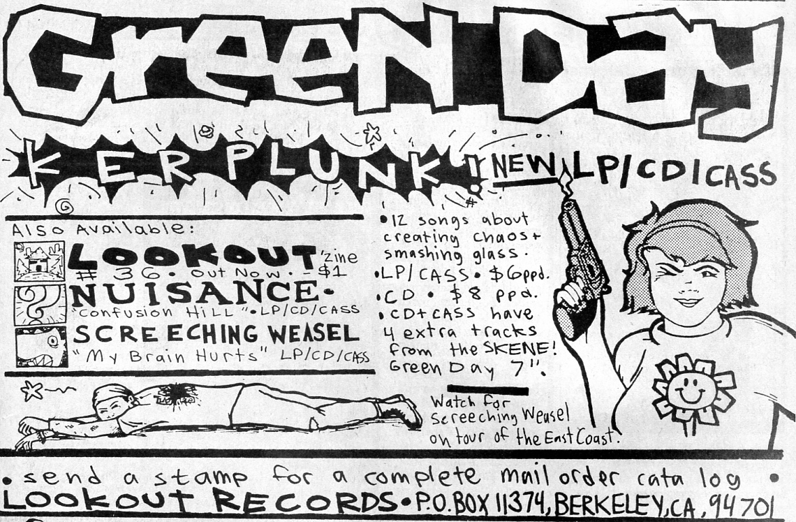 Annonse for Lookout Records advert, Maximum RocknRoll, No. 105, Feb. 1992